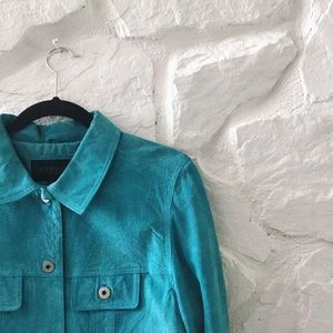 Express Blue Leather Button Jean Jacket Style L